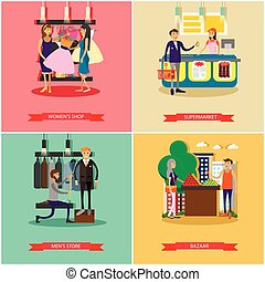 People shopping in a store concept posters. Colorful vector illustration.