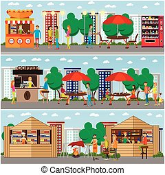 Street food festival concept vector banner. People sell from stalls in park.