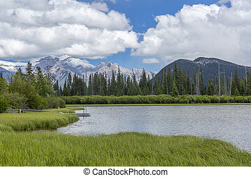 Vermillion Lakes and Rocky Mountains - Banff National Park,...