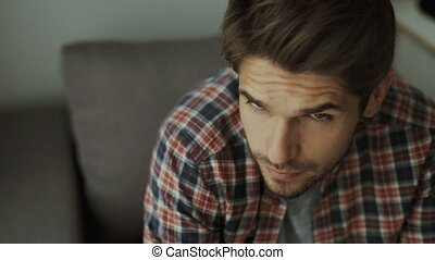 Happy young man. Portrait of handsome young man in casual...