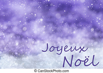 Purple Background, Snow, Snowflakes, Joyeux Noel Mean Merry...