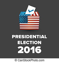 Presidential Election USA 2016 with the ballot box and flag...