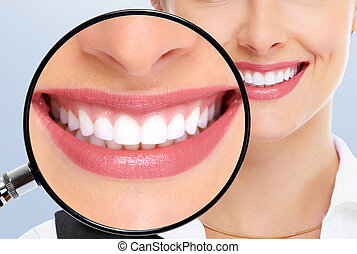 teeth whitening - Beautiful woman teeth. Dental health,...
