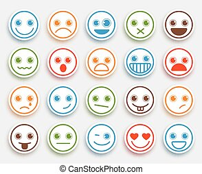Smiley face vector emoticon set in white flat icon sticker...
