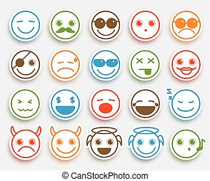 Smileys face vector emoticons set in white flat icon sticker...