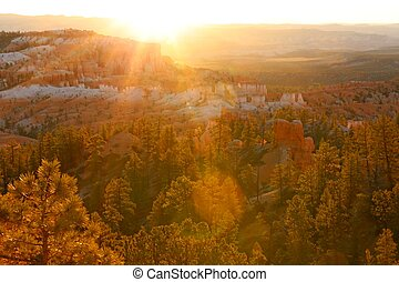 Scenic view and Sunset, Bryce Canyon National Park, Utah, USA