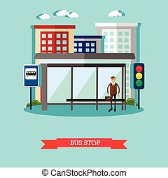 Man waiting for a public transport at bus stop. City urban landscape vector illustration in flat style.