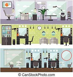 Beauty salon interior vector concept banners. Haircut, manicure and make up atelier