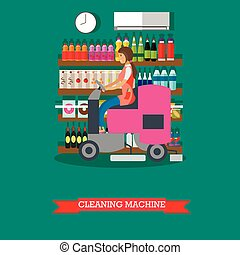 Woman use cleaning machine to clean floor, grocery store. -...