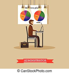 Company administrator work with computer in office. Business plan and market share pie chart. Vector poster