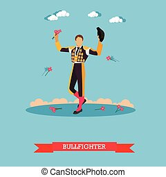 Man in spanish torero dress. Matador on arena for bullfighting. Vector concept poster