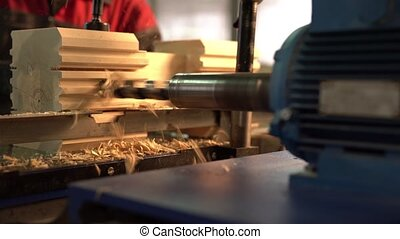View of machine tool with drill for woodworking - Close-up...