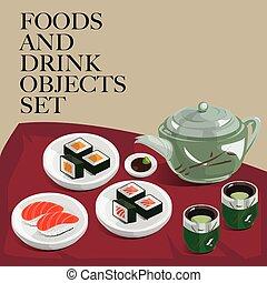 food drink sushi green tea