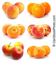 collection of ripe fruit isolated on white background