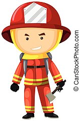 Fire fighter in safety uniform illustration
