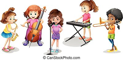 Many kids playing different musical instruments illustration