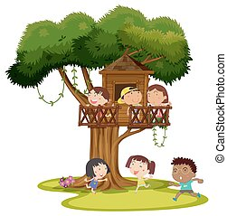 Many kids playing in the treehouse illustration
