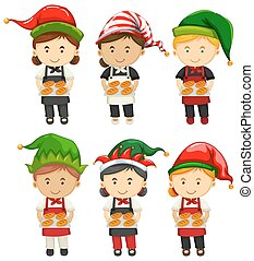 Bakers wearing party hat illustration