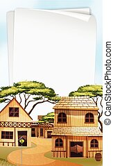 Paper template with western town background