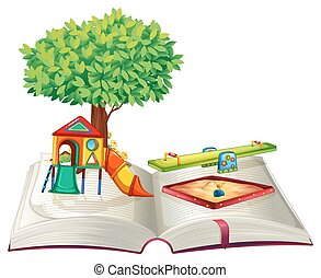 Book of playground in park illustration