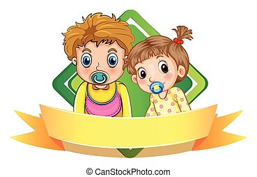 Label design wtih two babies illustration