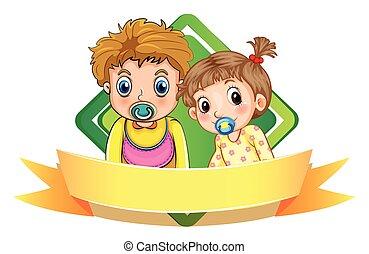 Label design wtih two babies illustration
