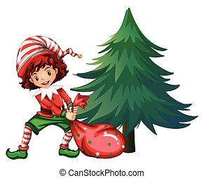 Elf dragging bag under the tree illustration