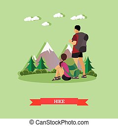 Couple hiking in mountains. Outdoor hike concept vector...