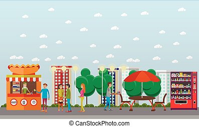 Street food festival concept vector banner. People sell from stalls in park. Hot Dog cart