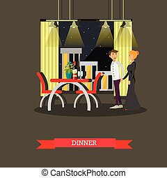 Romantic couple dinner in restaurant. Vector concept poster