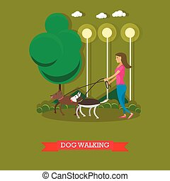 Woman walking with dogs in a park. Vector poster