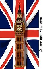 Union Jack Flag with Big Ben - The British Union Flag, or...
