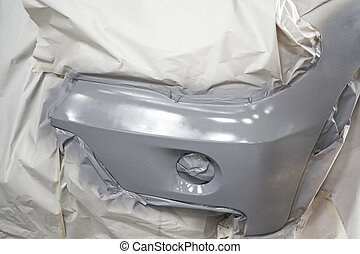 Car body work auto repair car paint after car accident during the spraying