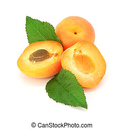 fresh apricot fruits cut isolated on white background