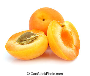 three fresh apricot fruits on white background
