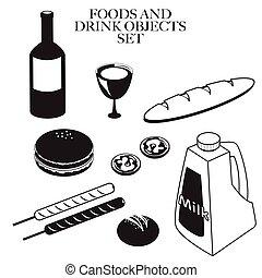 food drink black white set A