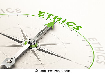 Business Ethics - compass with needle pointing the word...