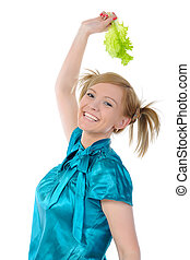 Beautiful women with lettuce in her hand