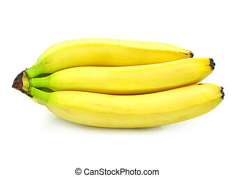 yellow banana fruits cluster isolated food on white - yellow...