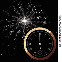 New Year Firework - A New Year clock showing almost...