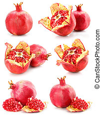 collection of red pomegranate fruits healthy food isolated -...