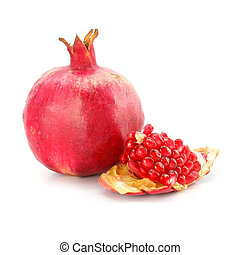red pomegranate fruit healthy food isolated on background