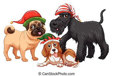 Christmas theme with dogs wearing christmas hats