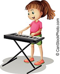 Girl playing with electronic piano illustration