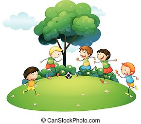Children playing football in the park illustration