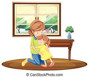 filha, sala, Abraçando, mãe