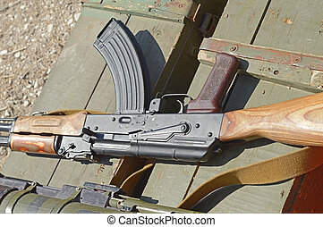 the AK rifle - wooden box of ammunition with Russian assault...