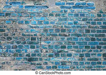 青い壁, れんが, 手ざわり