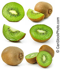 collection of fresh kiwi fruits isolated on white background