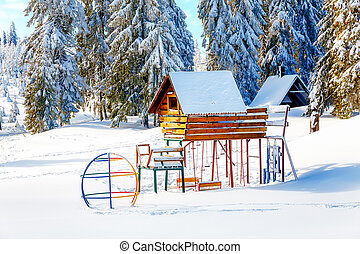 Game Children's Complex in beautiful mountain snowy...